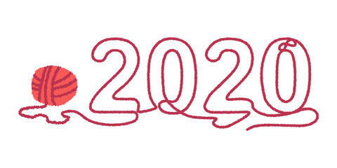 2020 vector concept illustration with ball of thread isolated on a white background.