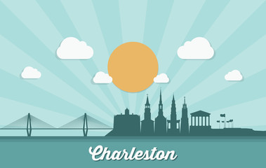 Fototapete - Charleston skyline - United States of America - USA - South Carolina