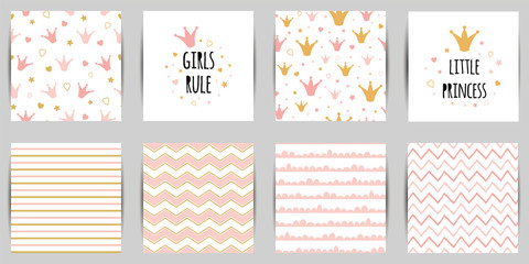 Little princess seamless pattern set in pink golden color queen crown background card Striped Zigzag