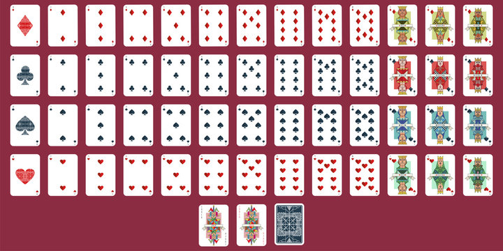 Playing cards vector set. Full deck for poker isolated on background.