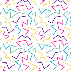 Memphis style seamless pattern, banner template