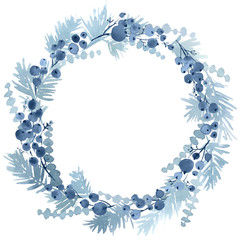Watercolor Christmas wreath spruce and berries in navy blue color