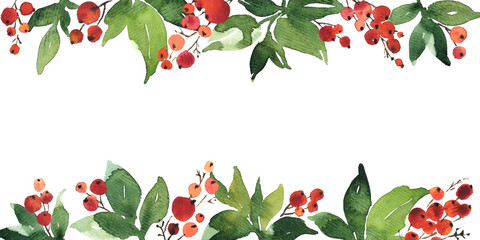 Christmas watercolor horizontal arranging with holly berries and green leaves