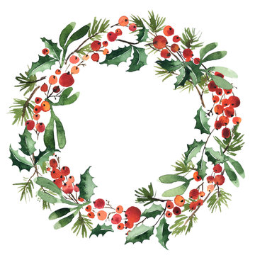 Watercolor wreath of spruce with holly berries and mistletoe for Christmas decoration