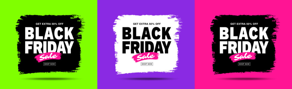 Black Friday sale banners set. Trendy colors background. Brush stroke blots frame for sales and discounts. Template design. Watercolor texture. Vector grunge illustration