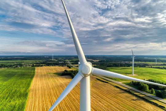 Wind power station. Aerial view. Wonderful landscape shot