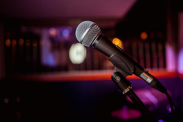 Microphone for sound, music, karaoke in audio studio or stage. Mic technology. Voice, concert...