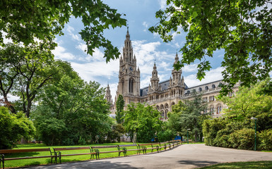 Parks of Vienna, Austria, view with City hall. Summer day.