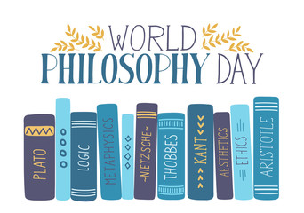 World Philosophy Day. Hand drawn philosophy books with lettering on white background.