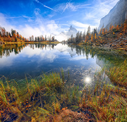 Wall Murals Wonderfull autumn view of Lake Federa in Dolomites