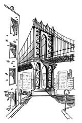 vector sketch of Brooklyn bridge in New York