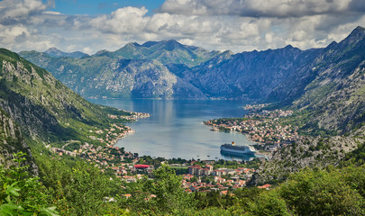 Aluminium Prints Dark grey Kotor bay and Old Town from Lovcen Mountain. Montenegro