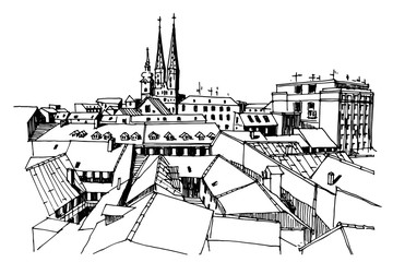 Wall Mural - Vector sketch of Cathedral in Zagreb, Croatia