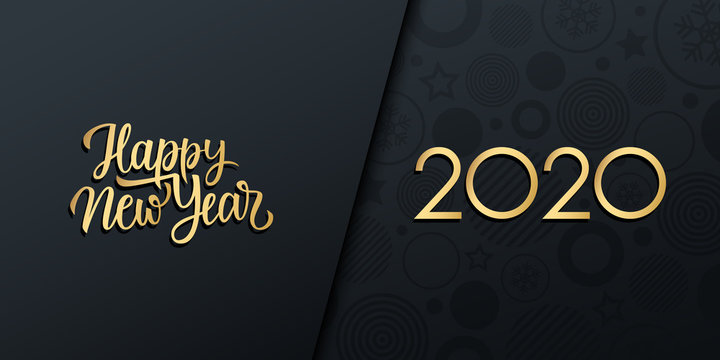 2020 New Year luxury holiday banner with gold handwritten inscription Happy New Year. Vector illustration.