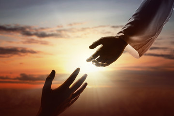 Jesus Christ giving a helping hand to human
