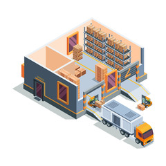 Warehouse isometric. Big storage house machines forklift transportation and loading truck warehouse building cross section vector. Illustration warehouse with box and forklift