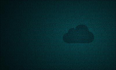 Digital cloud computing technology symbol dark