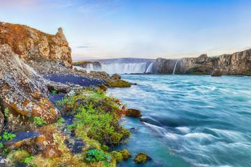 Fabulous scene of powerful Godafoss waterfall Fototapete