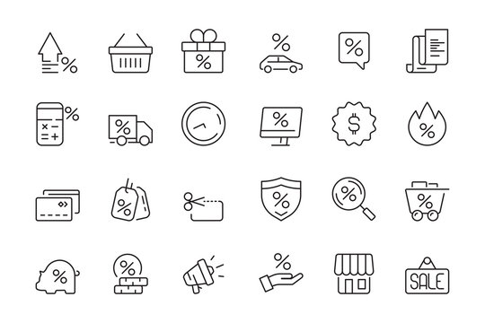 Discount icon. Market product sale leasing interest rates vector collection. Discount sale and rate interest, percentage off illustration