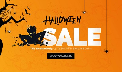 Halloween sale banner. Scary zombie getting out from the ground. Mobile website social media banner, poster, email and newsletter design, ad, promotional material. Vector illustrations