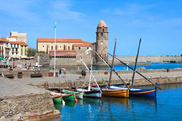 Fotorollo Südeuropa Collioure (France) : port et église Notre-Dame-des-Anges
