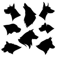 set of different dog breeds silhouettes - black and white vector outlines of profile pet heads