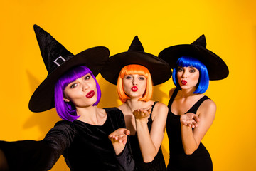 Friendship between witches exists concept. Close up picture of flirty cute dream lovely coquettish...