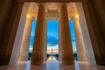 Sunrise view at Lincoln Memorial in Washington DC, USA Fotomurales