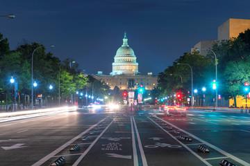 Night view of Pennsylvania Avenue and Capitol Building, Washington D.C., USA