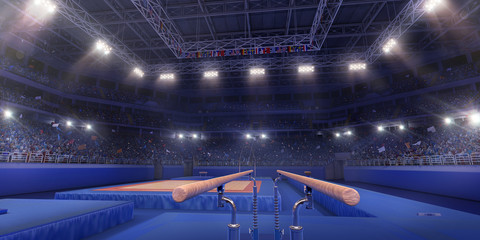 Professional gymnastic gym with parallel bars. 3D illustration