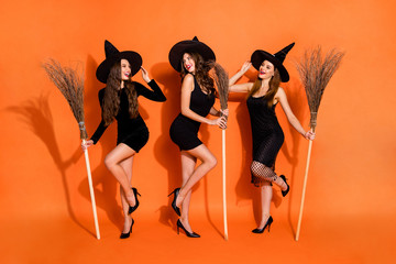 Full length photo of three witch ladies holding brooms talking about handsome wizards wear black dresses and hats isolated orange color background
