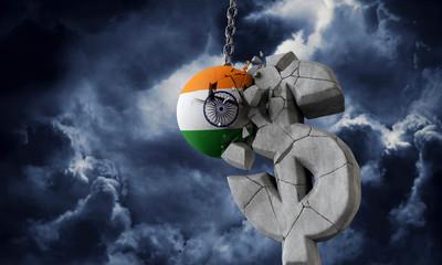 India flag ball smashing a USA dollar currency symbol. 3D Render