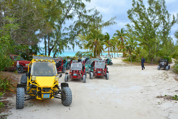 ELEUTHERA, BAHAMAS - MARCH 21, 2017 : Buggy car off road tour across Eleuthera island.