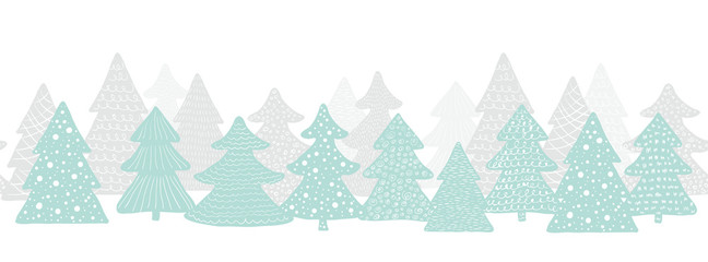 Seamless long banner with Christmas trees. Forest background. Scandinavian vector illustration