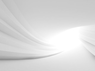 Twisted abstract white tunnel interior