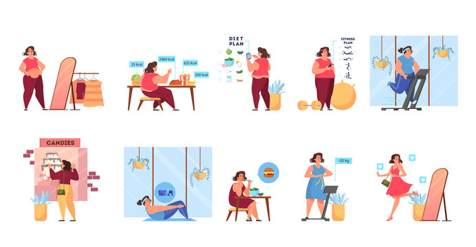 Overweight woman become thin process. Idea of fitness