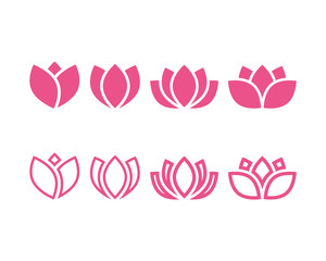 Pink lotus icon design template vector isolated illustration