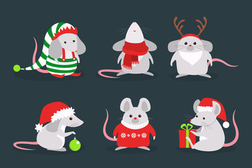 Cute christmas rat set. Animal character in Santa Claus hat.