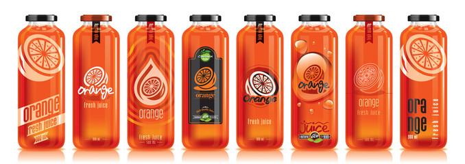 Vector orange juice, glass fruit bottle set