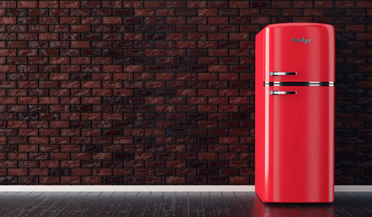 red fridge fire extinguisher on brick wall and wood floor