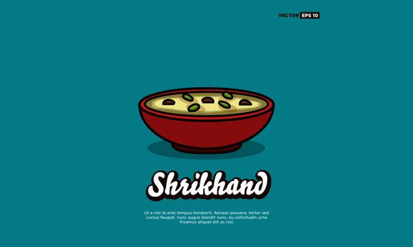 Shrikhand Indian Sweet Dessert Vector Illustration