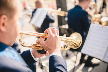 Trumpeter at a concert as part of an orchestra - rear view Wall mural