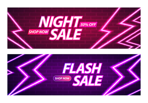 Flash and Night Sale Banner Design. Glowing Neon Thunderbolts on Brick Wall Background. Vector Advertising Illustration