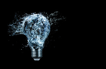 Lightbulb water splash with copy space. Wall mural