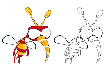 Fotorollo Babyzimmer Vector Illustration of a Cute Cartoon Character Bee for you Design and Computer Game. Coloring Book Outline Set