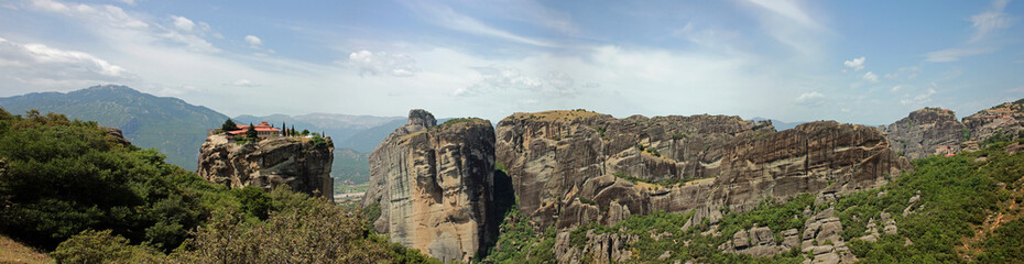 Panoramic view at Meteora mountains and monastic in greece