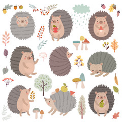 Wall Mural - Hedgehog set hand drawn style. Cute Woodland characters playing, sleeping, relaxing and having fun.