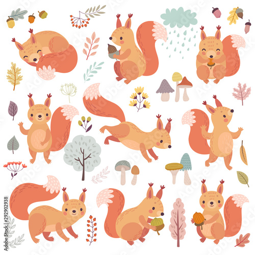 Wall mural Squirrel set hand drawn style. Cute Woodland characters playing, sleeping, relaxing and having fun.