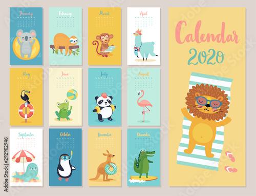 Wall mural Calendar 2020. Cute monthly calendar with beach animals.