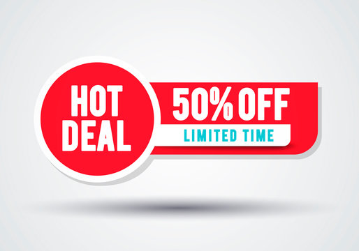 Vector Red Sale Banner. Hot Deal 50 Off Badge Template. Web Element.